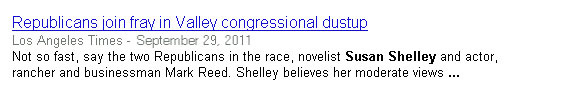 Story on L.A. Times website referencing the Susan Shelley for Congress campaign