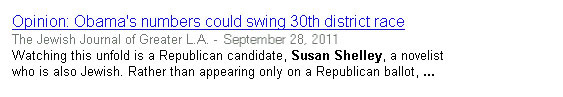 News story in the Jewish Journal referencing the Susan Shelley for Congress campaign