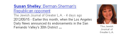 Susan Shelley: Berman-Sherman's Republican Opponent - Profile in The Jewish Journal of Greater Los Angeles